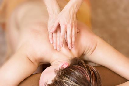 young woman on the therapy massage procedure